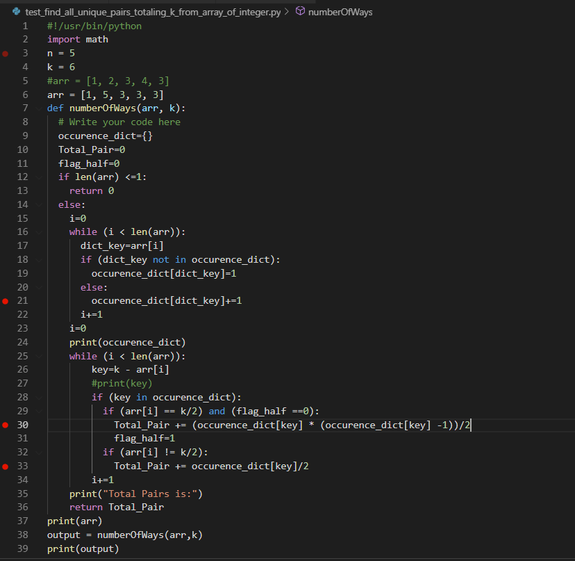 Pair Sum with Python