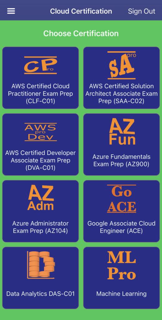 AWS Azure Google Cloud Cloud Certification Exam Prep App